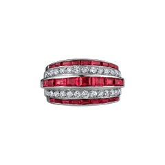 Vintage Diamond Ruby Platinum Bombe Ring