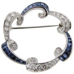Vintage Diamond Sapphire Brooch