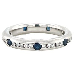 Vintage Diamond Sapphire Platinum Band Ring