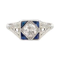 Vintage Diamond, Sapphire & Platinum Ring