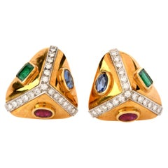 Vintage Diamond Sapphire Ruby Emerald 18 Karat Gold Triangle Earrings