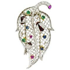 Vintage Diamond Sapphire Ruby Emerald Platinum Ladybug Leaf Brooch