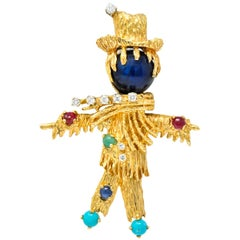 Vintage Diamond Sapphire Ruby Multi-Gem 14 Karat Gold Scarecrow Brooch