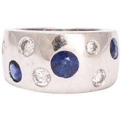 Vintage Diamond Sapphire Studded Band Ring