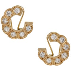 Vintage Diamond Set Circle Ear Hugging Gold Earrings 1.20 Carat