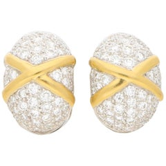 Vintage Diamond Set Domed Earrings in 18 Carat Yellow and White Gold 1.75 Carat