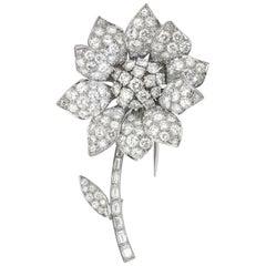 Vintage Diamond Set Flower Brooch