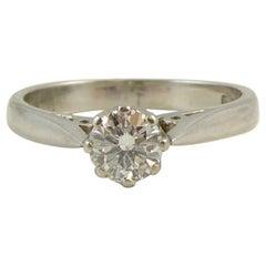 Vintage Diamond Solitaire Engagement Ring, circa 1980s, Platinum