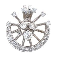 Vintage Diamond Starburst Pendant 14 Karat White Gold Small Round Estate Jewelry