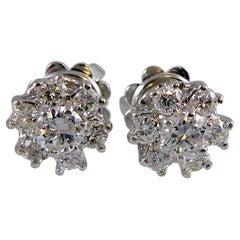 Vintage Diamond Stud Earrings, 0.66 Carat Brilliant Cut, London, 1975