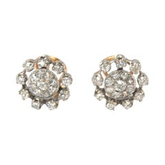 Vintage Diamond Stud Earrings in 18 Karat White and Rose Gold