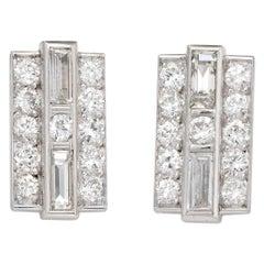 Vintage Diamond Stud Earrings Mixed Cut Square Platinum Estate Fine Jewelry