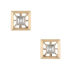 Vintage Diamond Stud Earrings Square 14 Karat Yellow Gold Estate Fine Jewelry