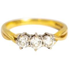 Vintage Diamond Three-Stone 18 Carat Gold Ring