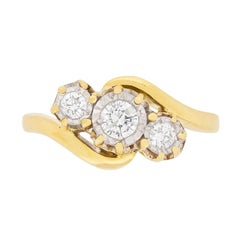Vintage Diamond Three-Stone Twist Ring, circa 1950s
