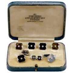 Vintage Diamond Tortoise Shell Tuxedo Cufflink Button Set