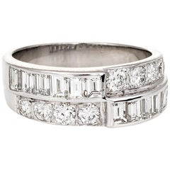 Vintage Diamond Wedding Band 14k White Gold 1.60ctw Estate Bridal Jewelry 7.25