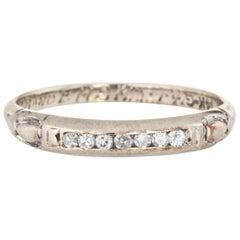 Vintage Diamond Wedding Band circa 1941 Estate 14 Karat White Gold Ring Jewelry