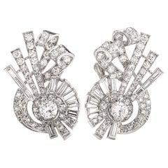 Vintage Diamond Whimsical Platinum Screw Back Earrings