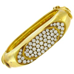 Vintage Diamond Yellow Gold Bangle Bracelet