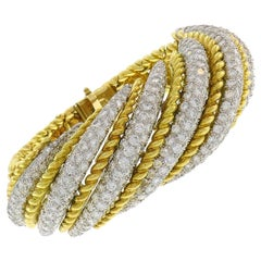 Vintage French Diamond Yellow Gold Bracelet, 1980s