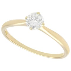 Vintage Diamond Yellow Gold Solitaire Engagement Ring