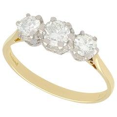 Vintage Diamond Yellow Gold Three Stone Engagement Ring