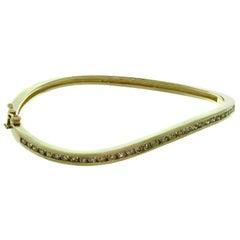 Vintage Diamond Yellow Gold Wave Design Bangle Bracelet