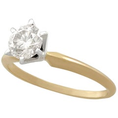 Vintage Diamond Yellow Gold White Gold Set Solitaire Engagement Ring