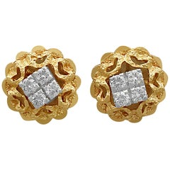 Vintage Diamond, Yellow Gold, and White Gold Set Stud Earrings, circa 1950
