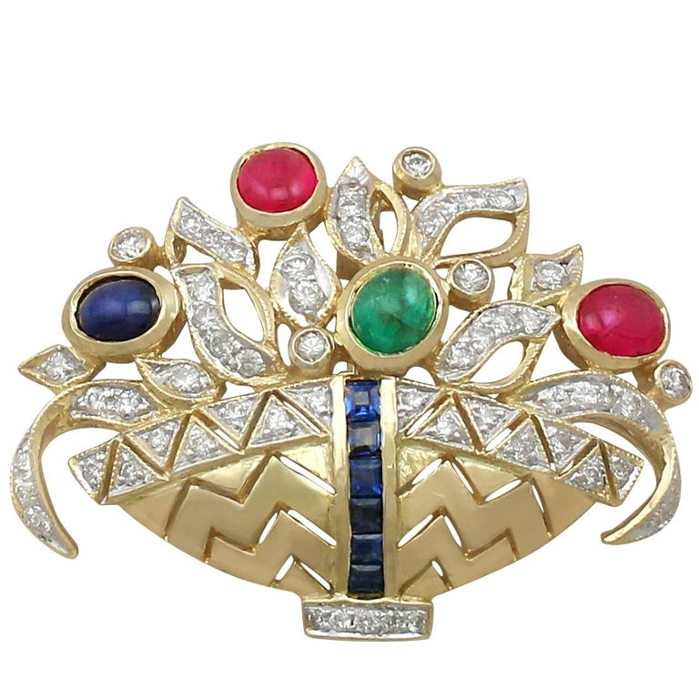 Vintage Diamond, Ruby, Sapphire and Emerald 18 Carat Yellow Gold Spray Brooch