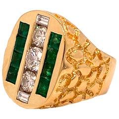 Vintage Diamonds and Emeralds Men's Ring 18 Karat Gold