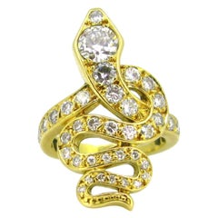 Vintage Diamonds Snake Ring, 18kt Yellow Gold, France