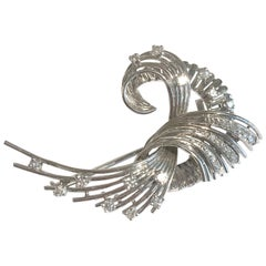 Vintage Diamonds Wheat Sheaf 18 Karat White Gold Brooch