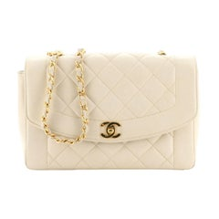 Chanel Vintage Diana Flap Bag Quilted Caviar Medium