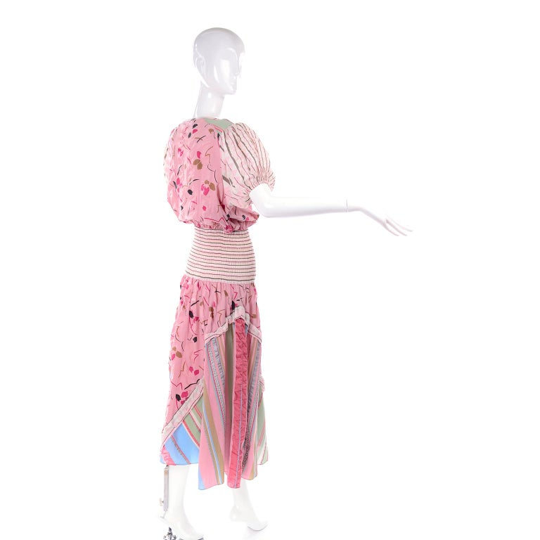 Vintage Diane Freis Pink Pastel Print Seersucker Cotton Dress & Scarf For Sale 2