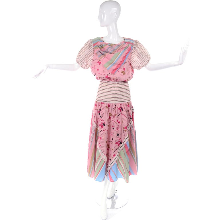 Vintage Diane Freis Pink Pastel Print Seersucker Cotton Dress & Scarf For Sale 4