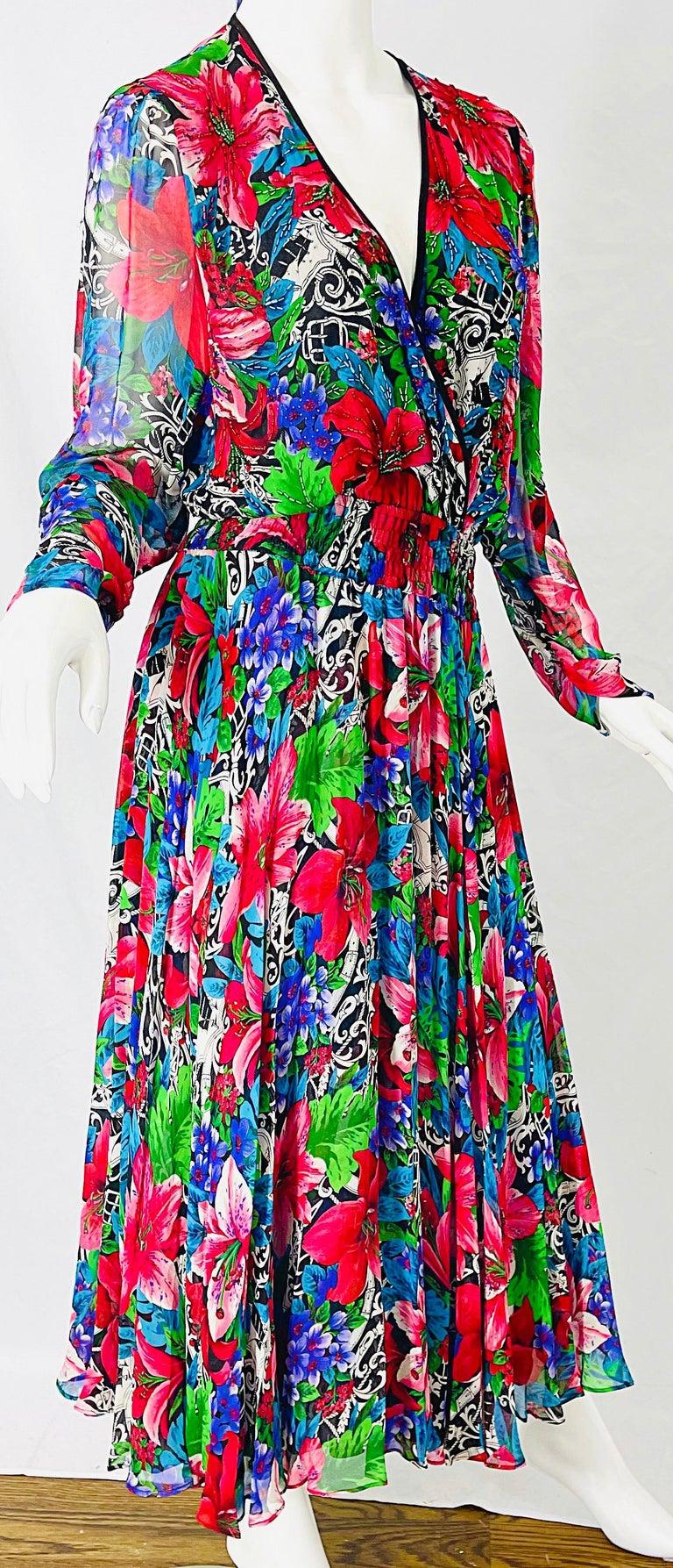 Vintage Diane Freis Silk Chiffon Beaded Tropical Print Midi Dress + Sash For Sale 5