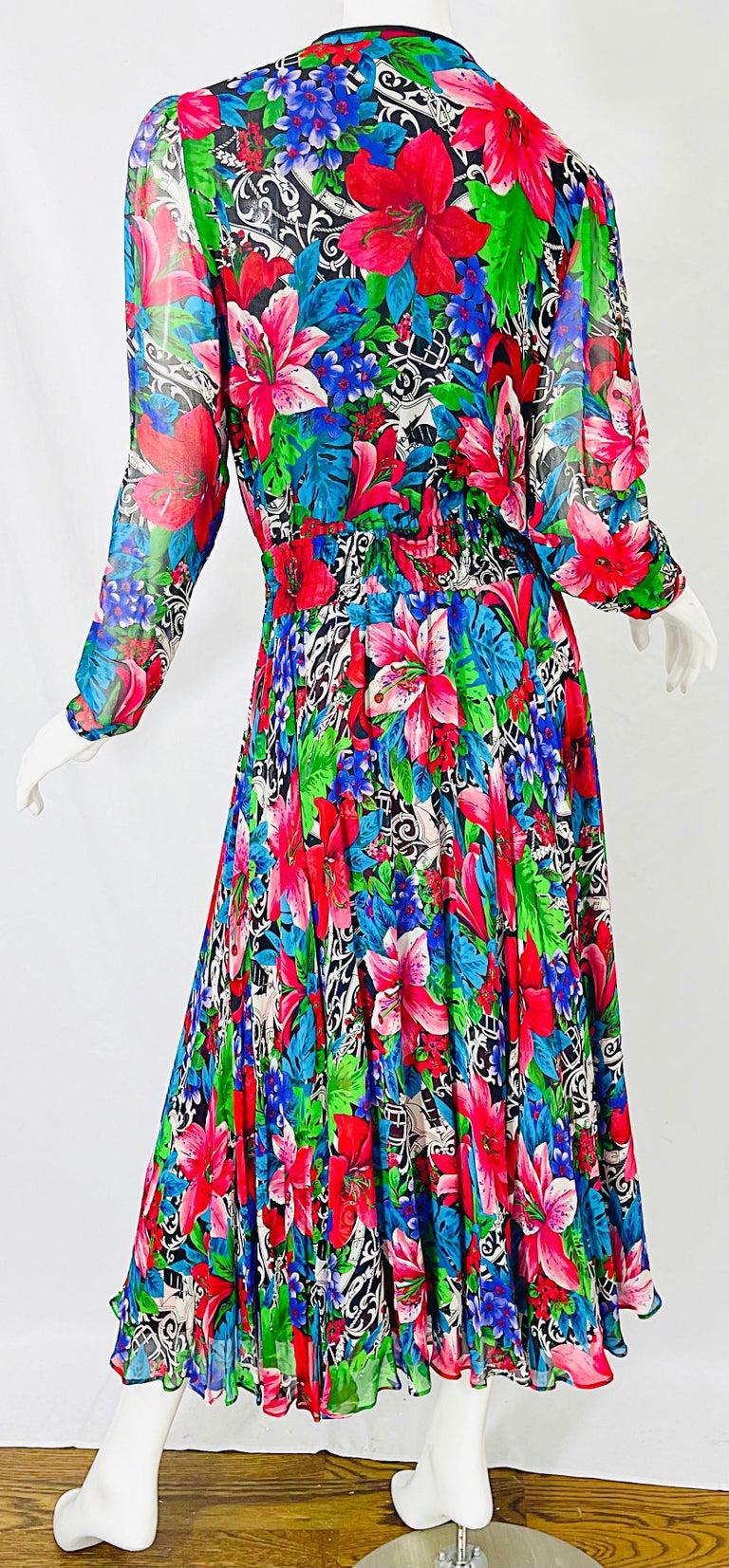 Vintage Diane Freis Silk Chiffon Beaded Tropical Print Midi Dress + Sash For Sale 6