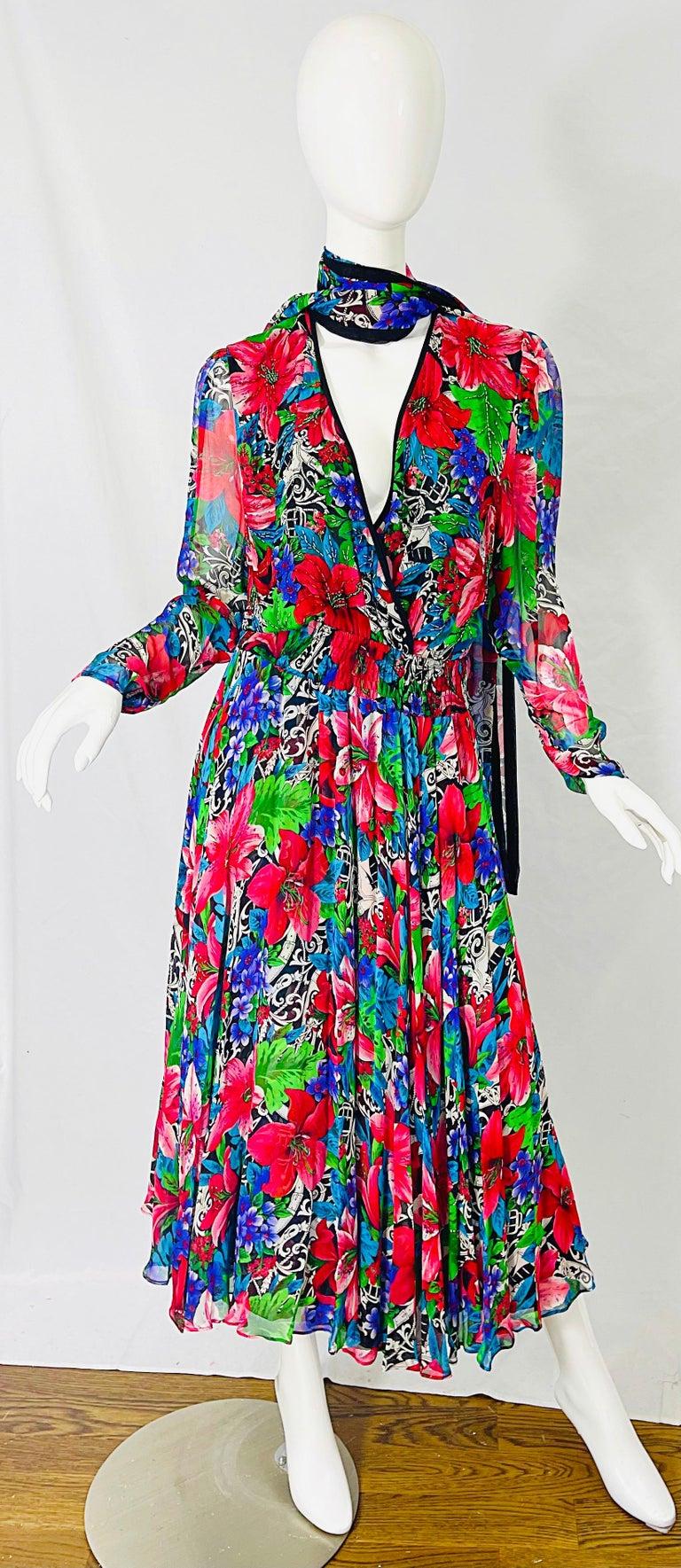 Vintage Diane Freis Silk Chiffon Beaded Tropical Print Midi Dress + Sash For Sale 7
