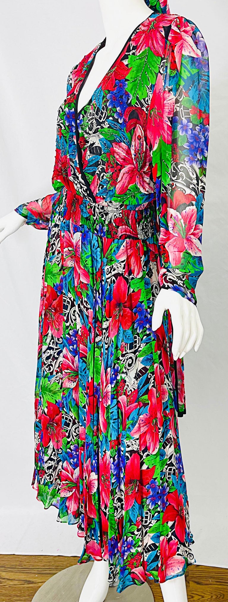 Vintage Diane Freis Silk Chiffon Beaded Tropical Print Midi Dress + Sash For Sale 8