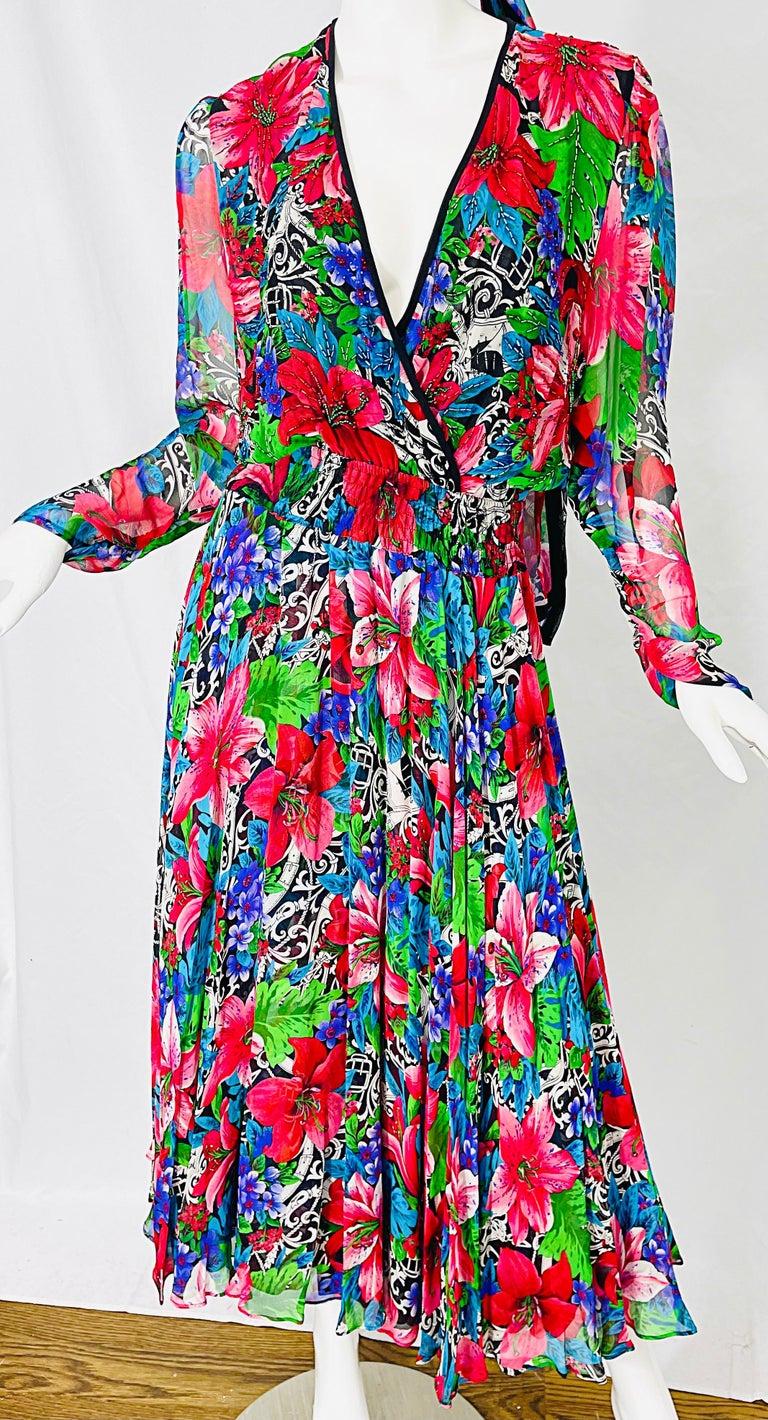 Vintage Diane Freis Silk Chiffon Beaded Tropical Print Midi Dress + Sash For Sale 9