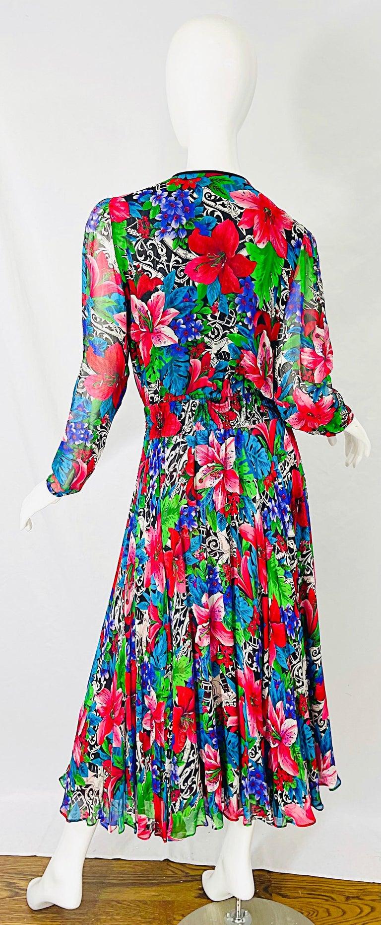 Vintage Diane Freis Silk Chiffon Beaded Tropical Print Midi Dress + Sash For Sale 10