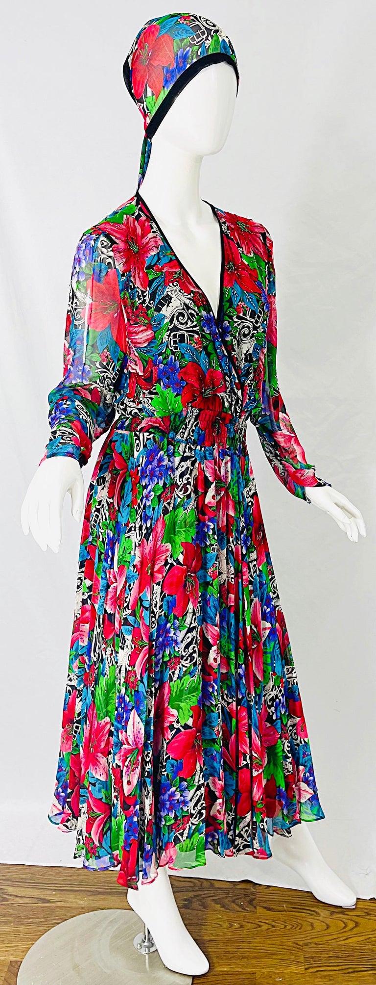 Vintage Diane Freis Silk Chiffon Beaded Tropical Print Midi Dress + Sash For Sale 11