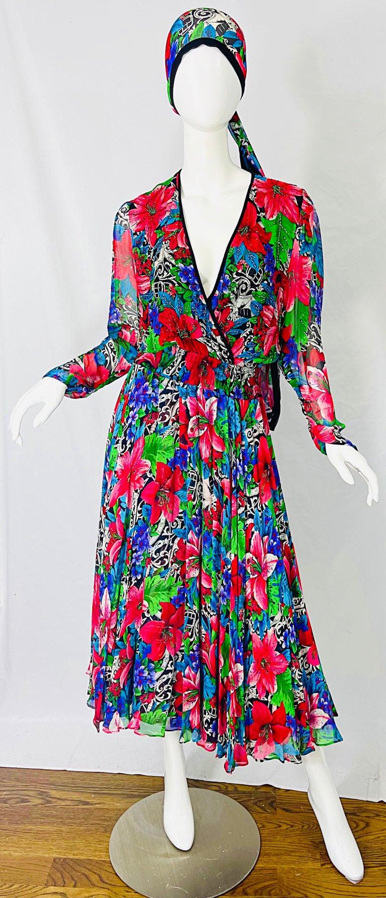 Vintage Diane Freis Silk Chiffon Beaded Tropical Print Midi Dress + Sash For Sale 12