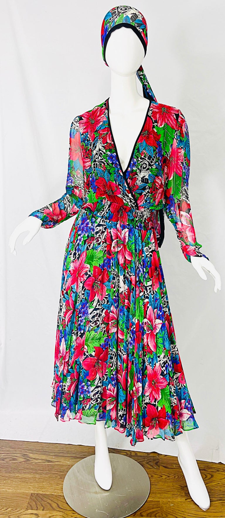 Amazing DIANE FREIS brightly colored tropical print beaded silk chiffon midi dress and sash ! Vibrant colors of green, blue, purple, red, black and white throughout. V-neck bodice with hundreds of hand-sewn beads. Flowy skirt looks fantastic with