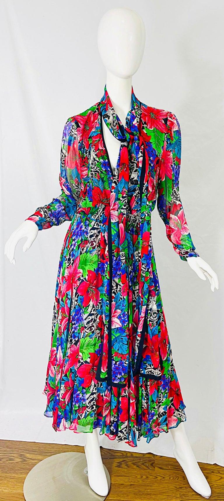 Women's Vintage Diane Freis Silk Chiffon Beaded Tropical Print Midi Dress + Sash For Sale