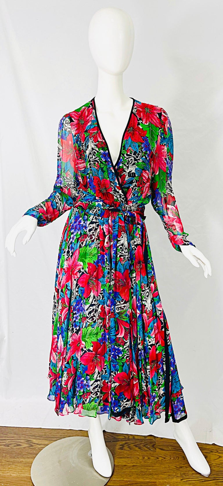 Vintage Diane Freis Silk Chiffon Beaded Tropical Print Midi Dress + Sash For Sale 1