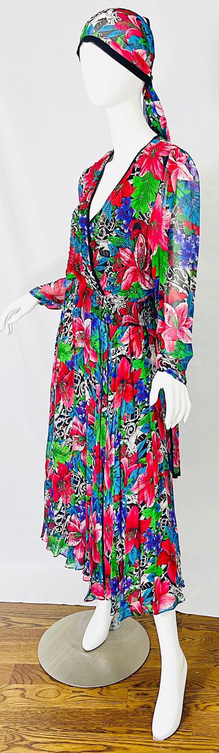 Vintage Diane Freis Silk Chiffon Beaded Tropical Print Midi Dress + Sash For Sale 4