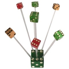 Vintage Dice Cocktail Set, Swizzle Sticks by Exclusive Playing Card Co.